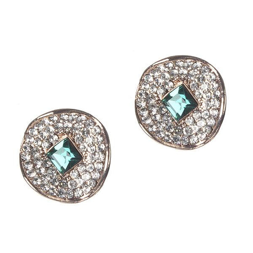 Kriaa Blue And White Austrian Stone Gold Plated Stud Earrings - 1306912B