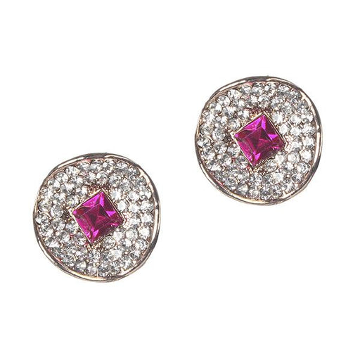 Kriaa Pink And White Austrian Stone Gold Plated Stud Earrings - 1306912D