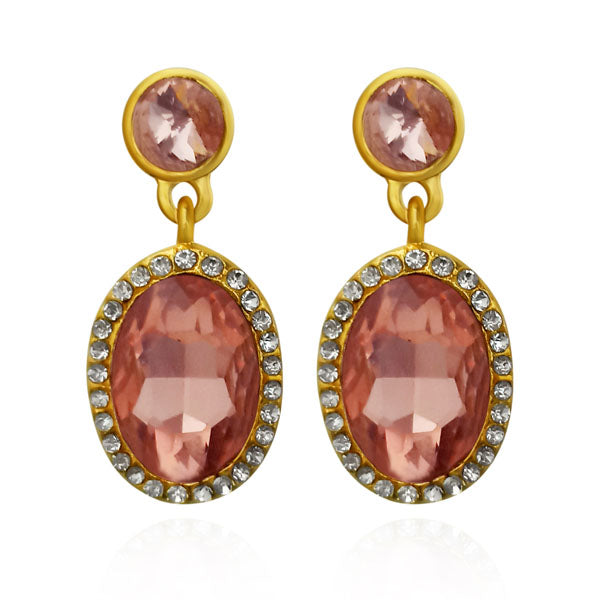 Kriaa Brown Austrian Stone Dangler Earrings
