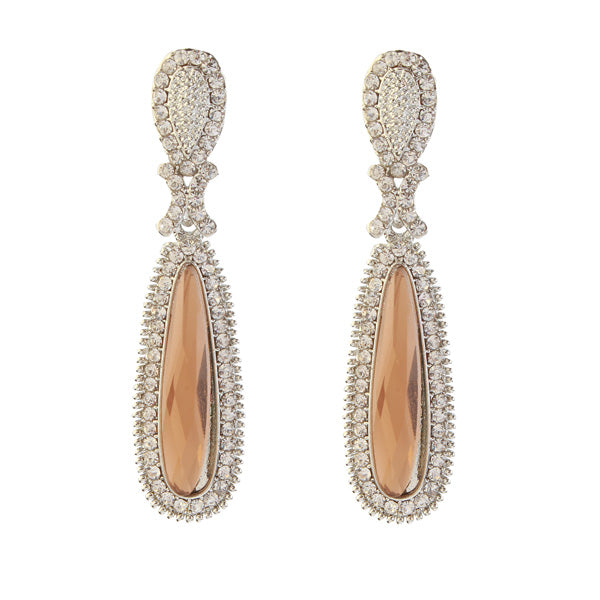 Kriaa Brown Stone Rhodium Plated Dangler Earrings