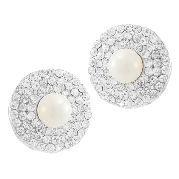 Kriaa Silver Plated Austrian Stone Pearl Stud Earrings