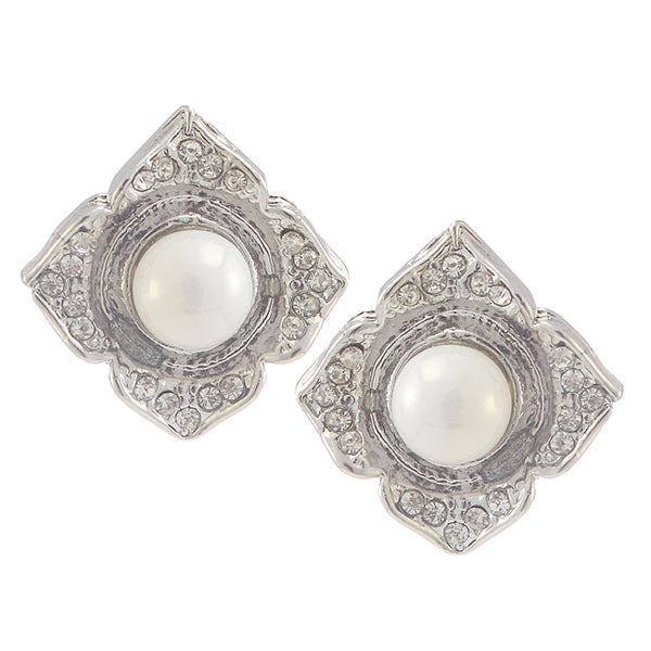 Kriaa White Peral Stone Silver Plated Stud Earrings