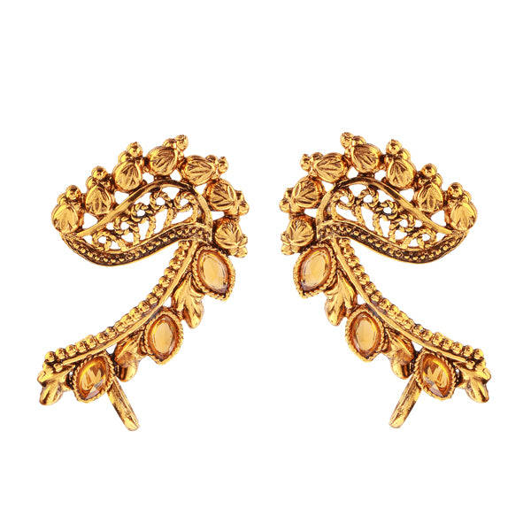 Kriaa Brown Austrian Stone Gold Plated Ear Cuffs