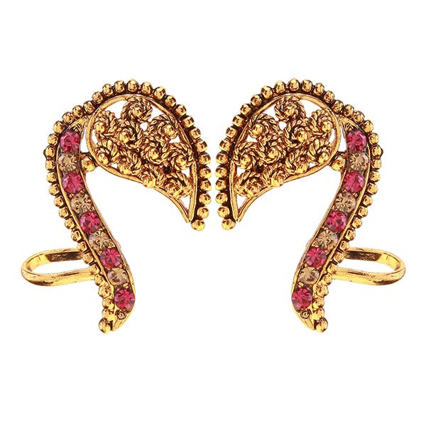 Kriaa Pink & Yellow Austrian Stone Gold Plated Ear Cuff
