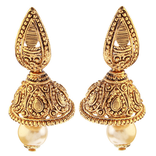 The99jewel Zinc Alloy Gold Plated Pearl Drop Jhumkis