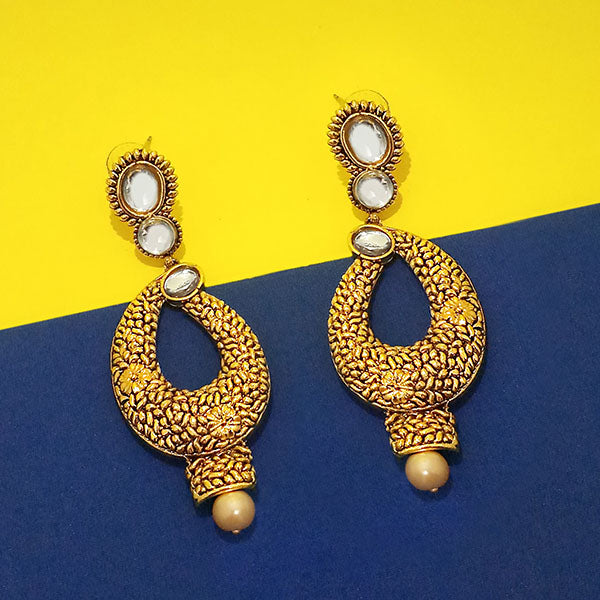 Kriaa Gold Plated Kundan Pearl Drop Dangler Earring