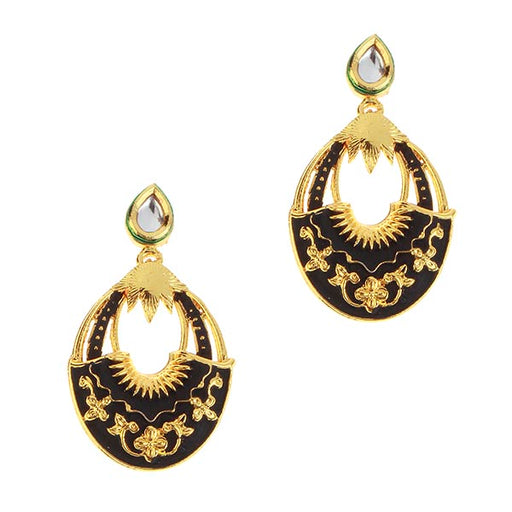 Kriaa Black Meenakari Gold Plated Dangler Earrings