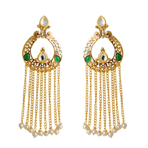 Kriaa Austrian Stone Gold Plated Hanging Earrings