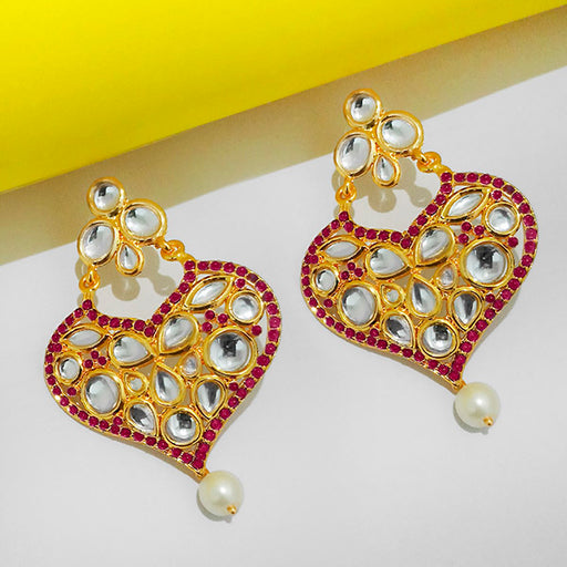 The99jewel Purple Pota Stone And Kundan Danglers Earrings