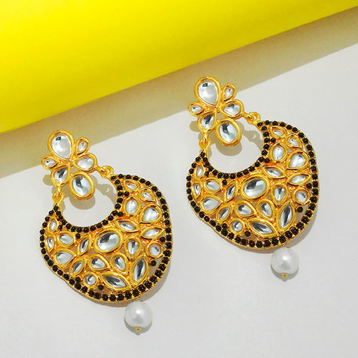 Kriaa Stone And Kundan Gold Plated Dangler Earring