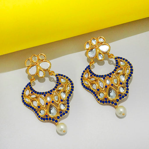 The99jewel Kundan Blue Pota Stone Dangler Earrings