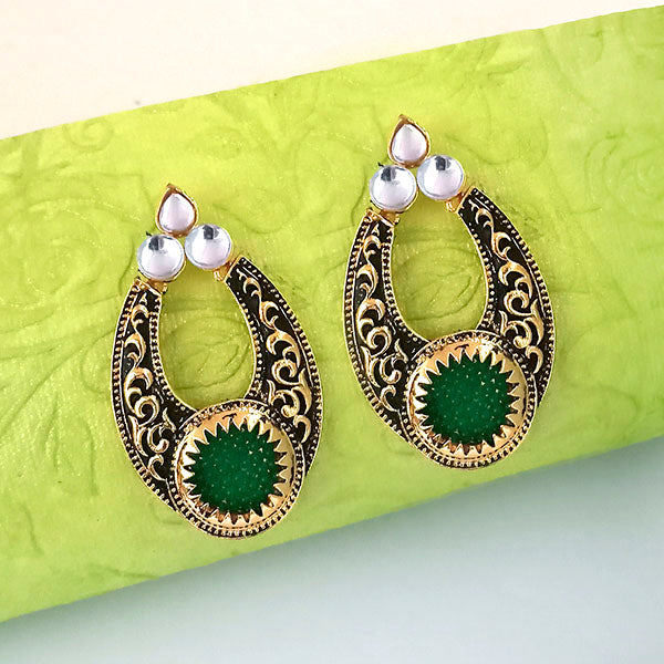 The99jewel Green Pota Stone And Kundan Danglers Earrings