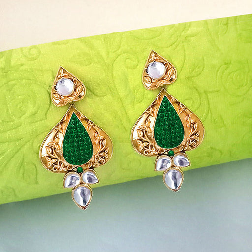 The99Jewel Kundan Green & White Dangler Earrings
