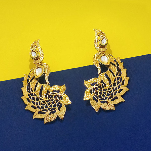 The99Jewel White Kundan Gold Plated Alloy Danglers Earrings