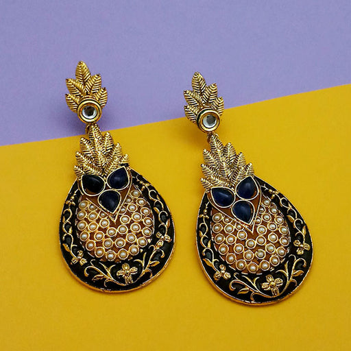 The99Jewel Blue Pota Stone Pearl Dangler Earrings