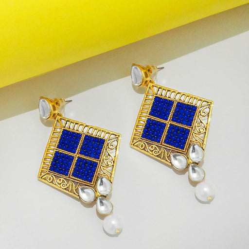 The99Jewel Kundan Blue & White Pota Stone Dangler Earrings