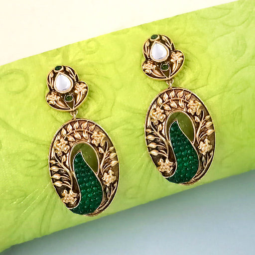 The99jewel Kundan Pota Stone Dangler Earrings