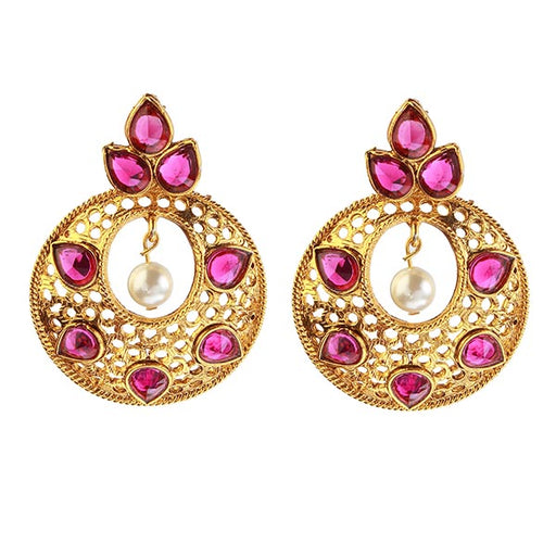 Kriaa Purple Kundan Stone Gold Plated Dangler Earrings