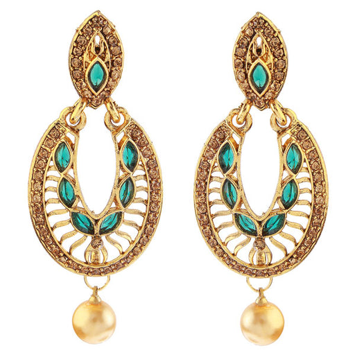 Kriaa Gold Plated Green Stone Dangler Earrings