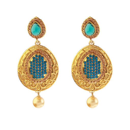 Kriaa Blue Austrian Stone Gold Plated Dangler Earrings