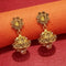 Kriaa Gold Plated Brown Stone Pearl Jhumki Earrings