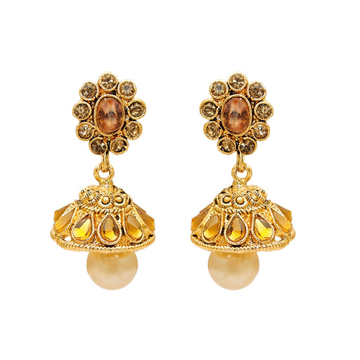 Kriaa Gold Plated Austrian Stone Kundan Jhumki Earrings