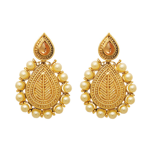 Kriaa Zinc Alloy Gold Plated  Pearl Dangler Earrings