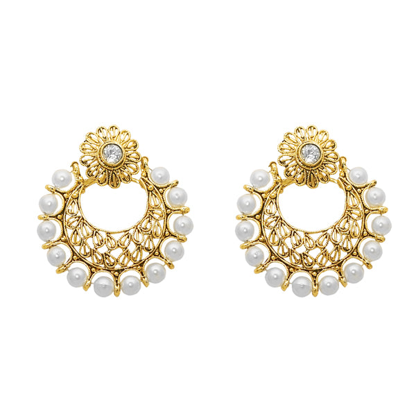 The99Jewel Zinc Alloy Gold Plated Pearl Dangler Earrings