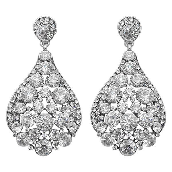 Jeweljunk Austrian Stone Rhodium Plated Dangler Earrings