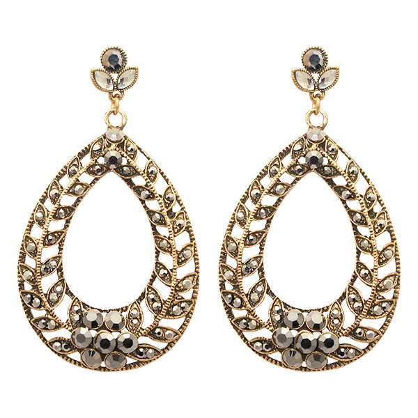 Jeweljunk Marcasite Stone Antique Gold Plated Dangler Earrings