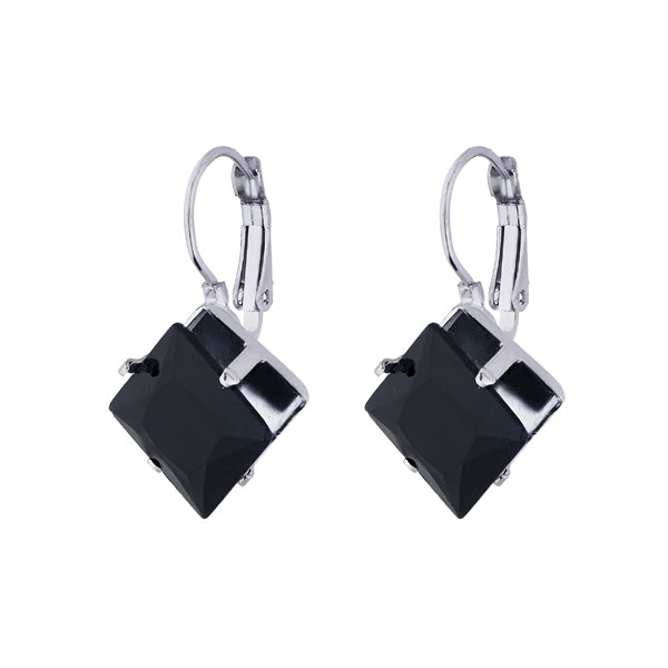 Kriaa Silver Plated Black Resin Stone Dangler Earrings