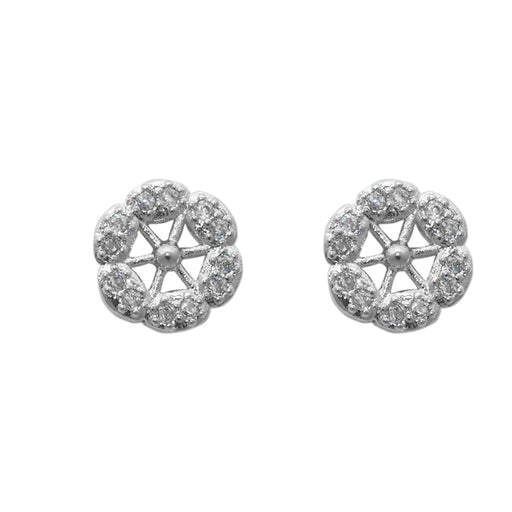 Eleonora American Diamond Silver Plated Floral Stud Earrings