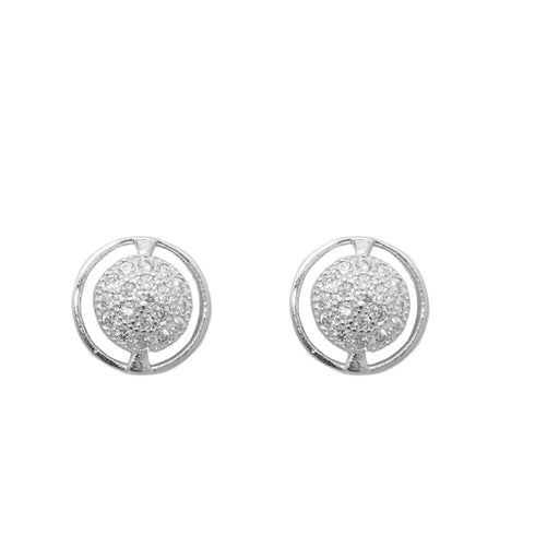 Eleonora American Diamond Silver Plated Round Stud Earrings