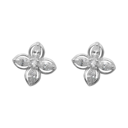 Morini Cubic Zirconia Diamond Floral Stud Earrings