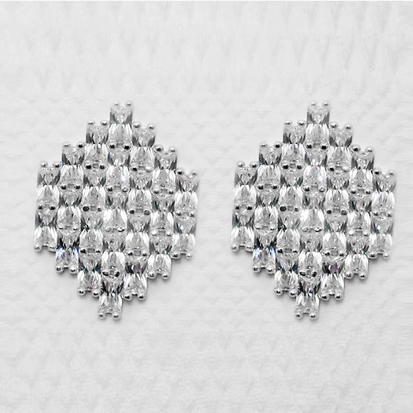 Romance Brass Cubic Zirconia Stud Earrings