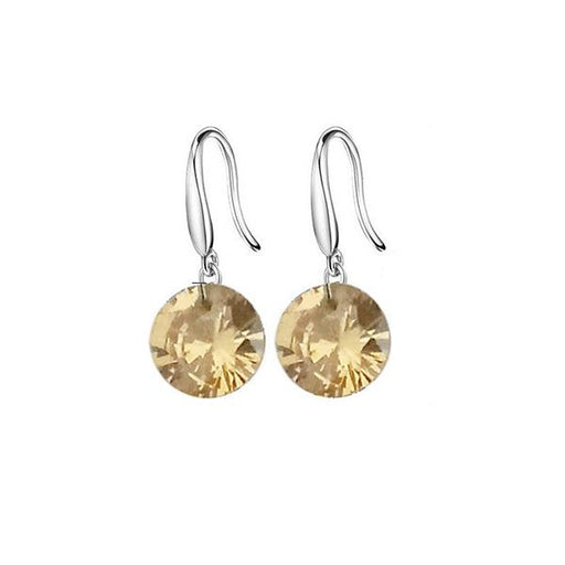 Kriaa Brown Crystal Stone Silver Plated Hook Earrings - 1308059B