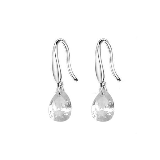 Kriaa White Crystal Stone Silver Plated Hook Earrings - 1308060a