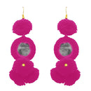 Jeweljunk Pink Thread Mirror Gold Plated Earrings