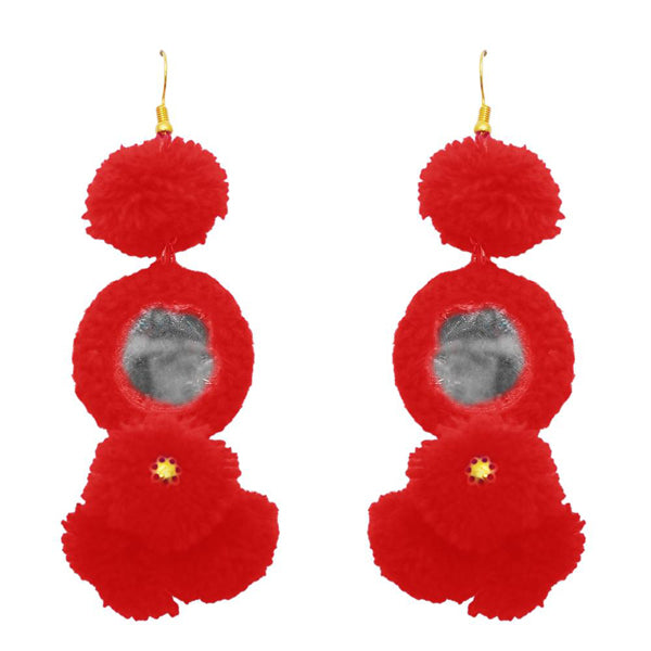 Jeweljunk Gold Plated Red Thread Mirror Earrings