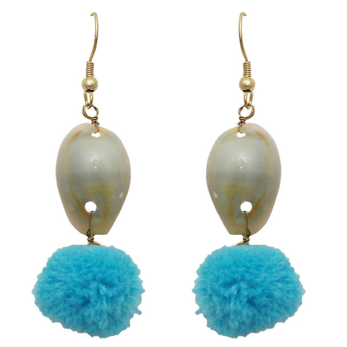 Jeweljunk Blue Thread Shell Gold Plated Earrings