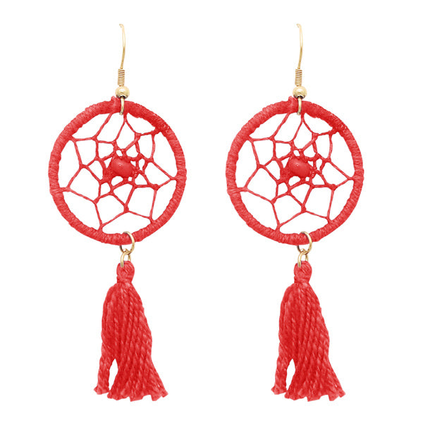 Jeweljunk Gold Plated Red Thread Beads Ring Earrings