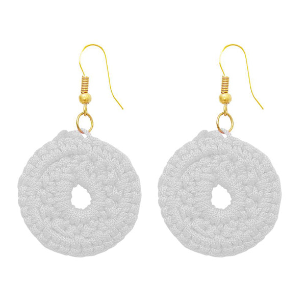 The99Jewel White Thread Gold Plated Round Shape Earrings