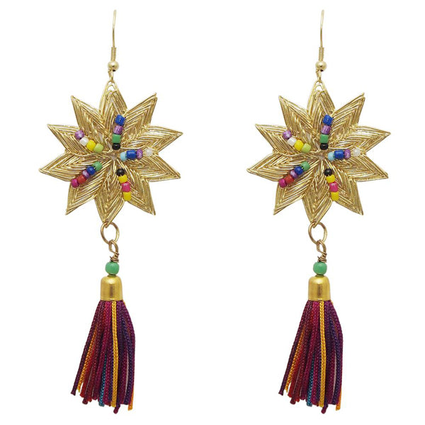 Jeweljunk Gold Plated Multi Thread Gold Plated Star Earrings