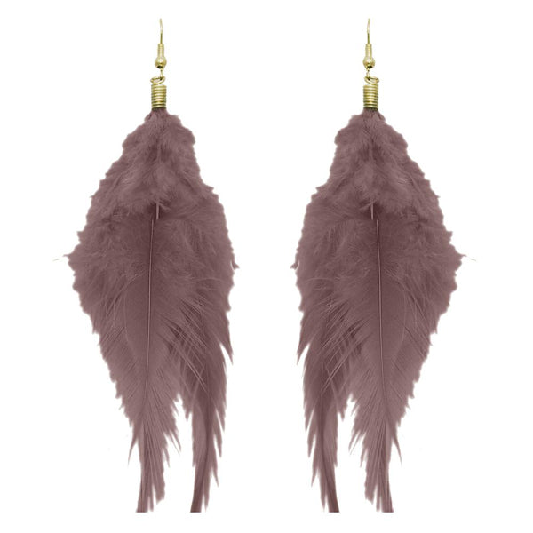 Jeweljunk Gold Plated Brown Feather Earrings