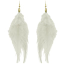 Jeweljunk White Gold Plated Feather Earrings