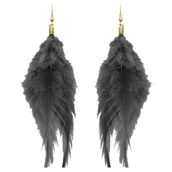 Jeweljunk Zinc Alloy Black Feather Earrings