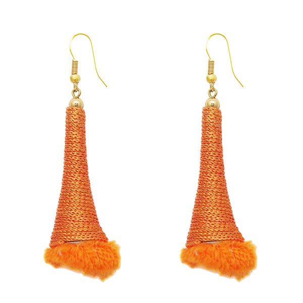 Kriaa Gold Plated Orange Thread Earrings