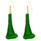 The99Jewel Gold Plated Green Thread Earrings