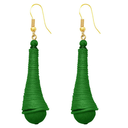 The99Jewel Green Gold Plated Thread Earrings