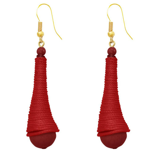 The99Jewel Gold Plated Maroon Thread Earrings